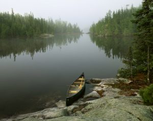 Canoe on Seagull Lake, Boundary Waters Canoe Area Wilderness, Minnesota.