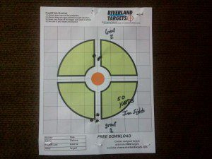 Ruger Gunsite Scout Rifle, 308 WIN at 50 yards sighting in the iron sights.
