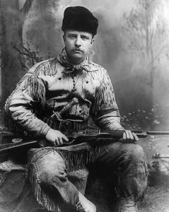 Picture of Theodore Roosevelt. Photo by George Grantham Baine in 1885 (public domain). TR dressed in his hunting garb. Rumor is he loved chili...