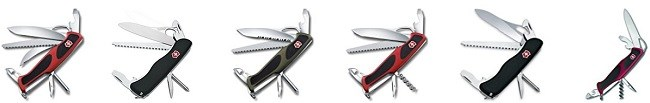 Different models of Swiss Army Knives; different sizes, different tools, different blades, different colors!