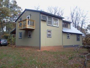 A picture of the new, modern off grid cabin.  Three times the size of the first one.