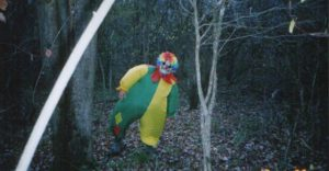 Picture taken off a hunter's game trail camera - buddy playing a prank. Another reason for me to be freaked out by clowns.
