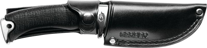 Gerber Gator Premium Knife in its black leather sheath.