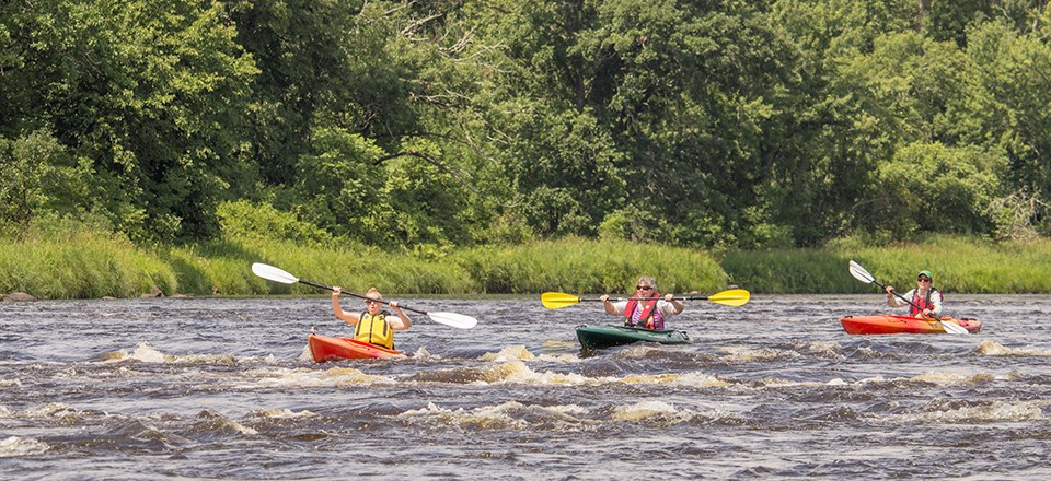 Class one+ rapids that can be found occasionally along the St Croix National Scenic Riverway. Photo by the National Park Service.