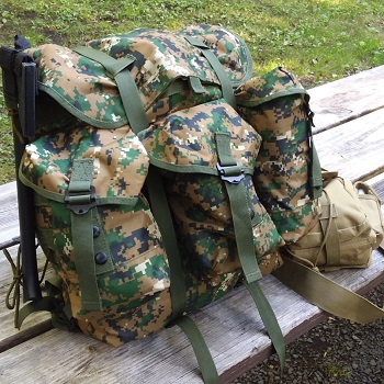 For me, when I go solo camping for a few days, this is all I need; Medium Alice Pack and a smaller sling pouch you can see (brown) to the right.