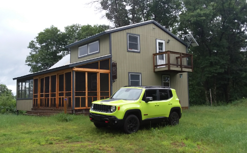 My Jeep Renegade Trailhawk in Hyper Green. It really stands out in the subtle setting of my off grid cabin in Northwest Wisconsin.