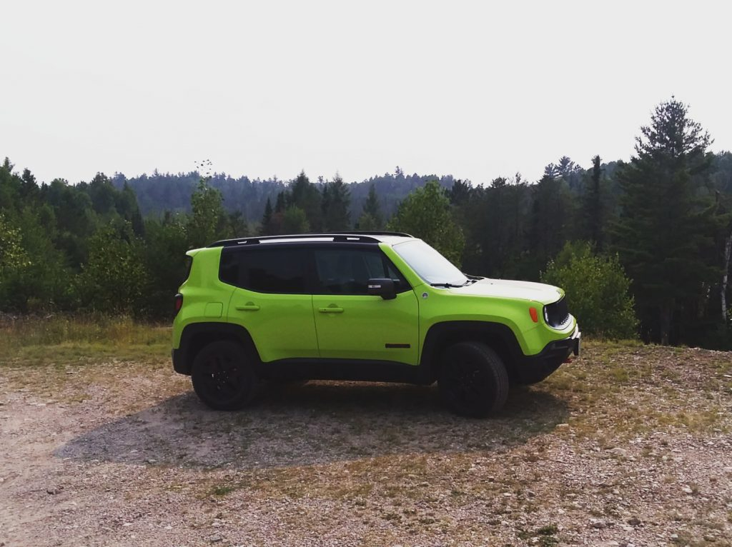 My Jeep Renegade parked off to the side of the Echo Trail in Northern Minnesota