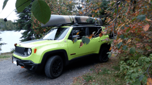 My Jeep Renegade Trailhawk with my canoe outside the BWCA.