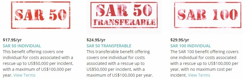 Example of SAR Insurance costs from GEOS