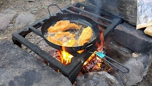 Frying up walleye and lake trout!