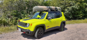 My Jeep Renegade Trailhawk with Old Town Guide 119 on top.  Adventure!