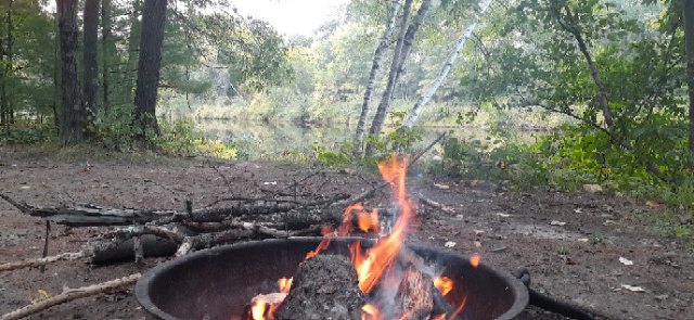 Camping in the Black River State Forest, East Fork Campground site 123, right on the water