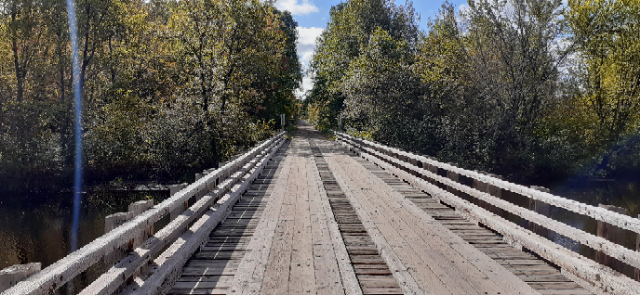 One of the handful of 'wood' bridges we had to drive across in deep forest country along the Trans Wisconsin Adventure Trail